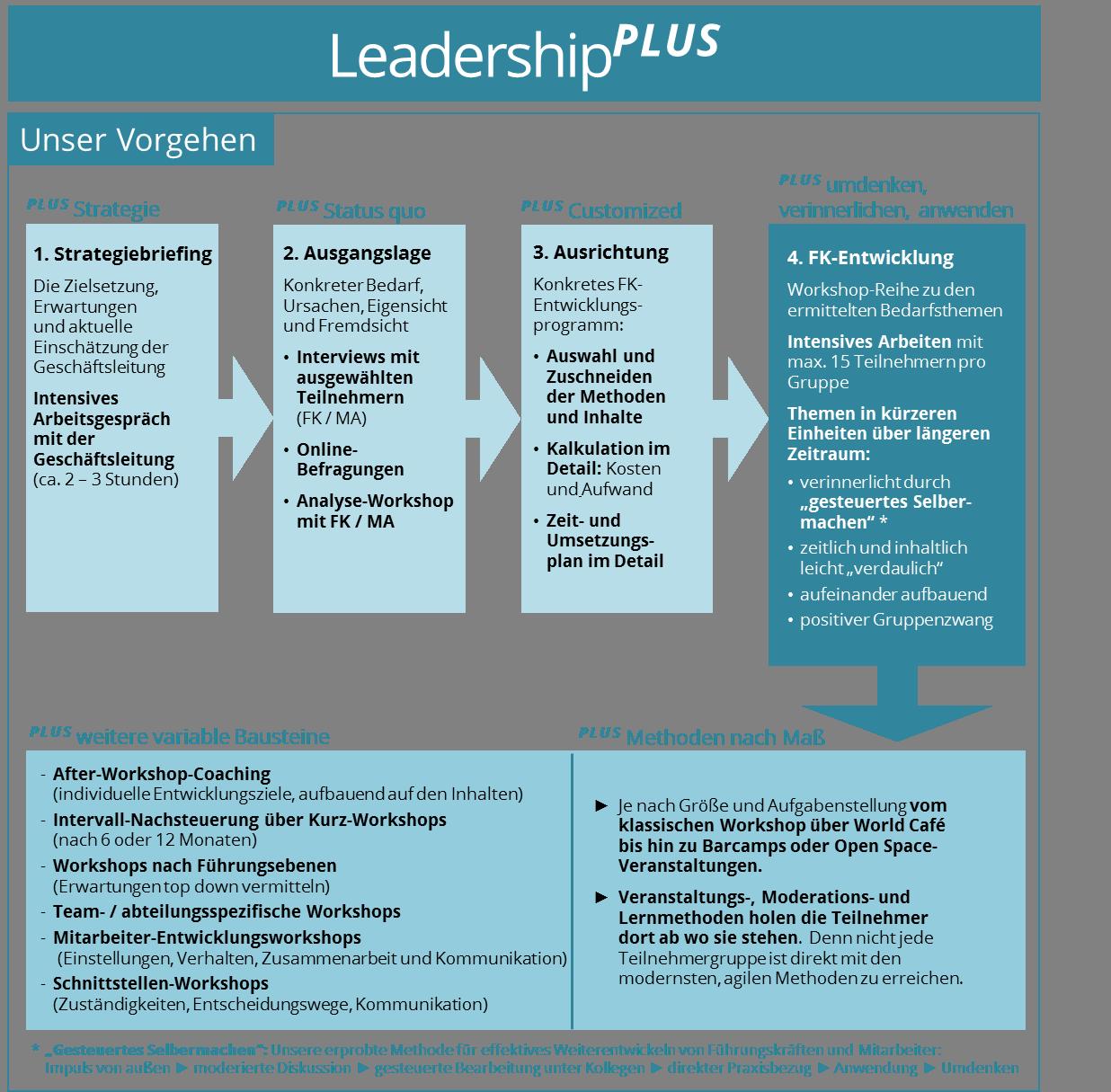 LeaderhipPLUS: Damit hält das Führungsverständnis Ihrer Führungskräfte mit Ihrer Unternehmensentwicklung Schritt.